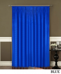 Blue Pinch Pleated Curtains