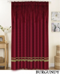 Burgundy Striped Pleated Curtains