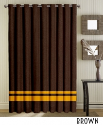 Gold Striped Brown Grommet Curtain