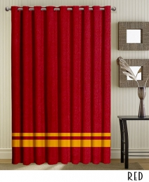 Red Striped Top Grommet Curtains