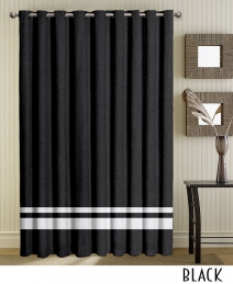 Black Striped Grommet Curtains