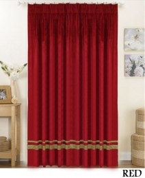 Red Striped Pleated Curtains
