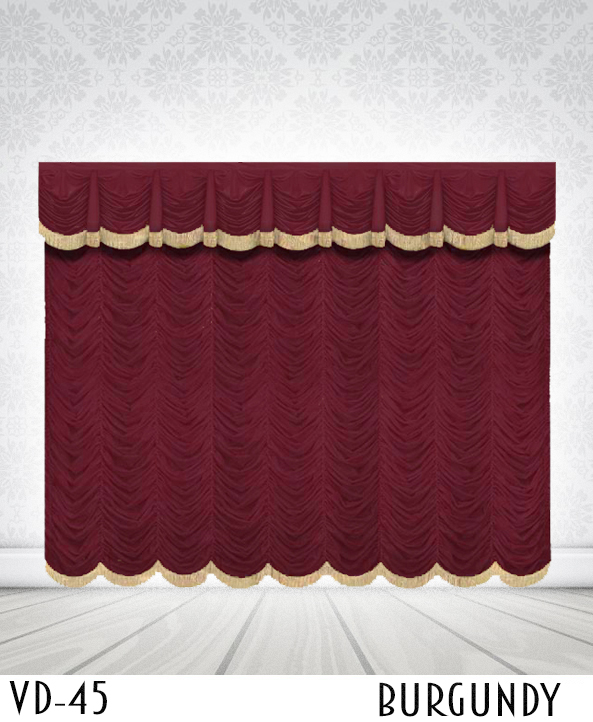 Austrian Curtains For Stage With Golden Lace