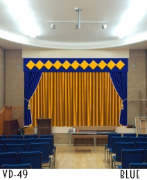 Designer Velvet Stage Curtains With Golden Combination