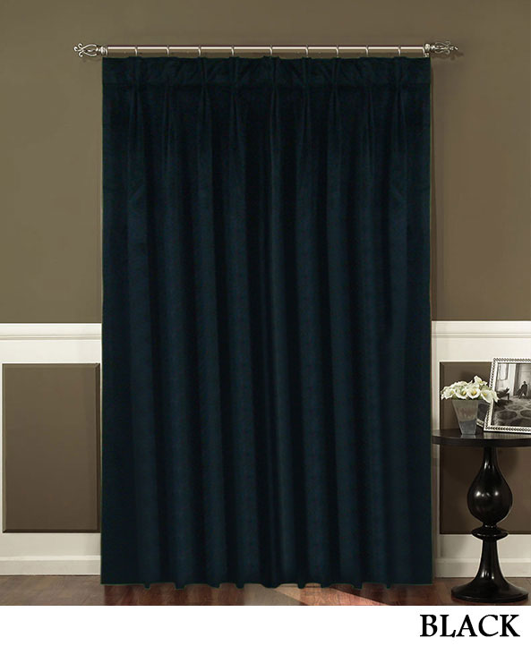 Black Pleated Velvet Curtains