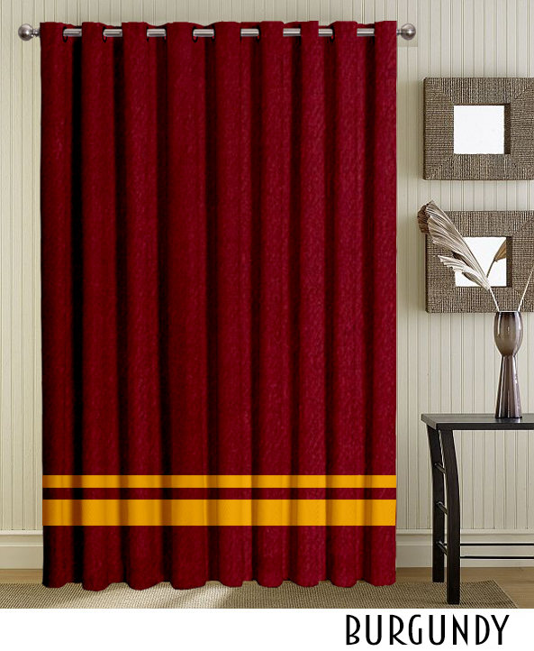 Burgundy Striped Grommet Curtains