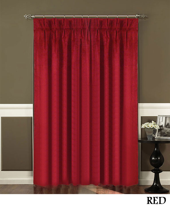 Red Pinch Pleated Curtains