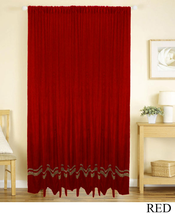 Red Gold Striped Curtains