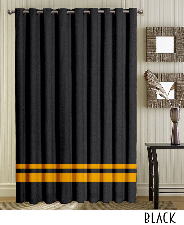 Black Stripe Grommet Curtains