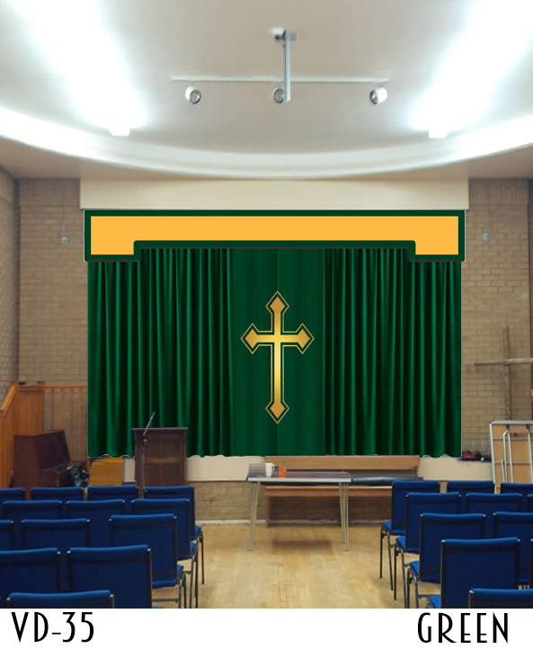 Church altar curtain with cross applique