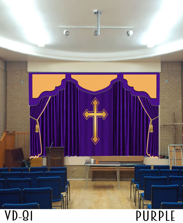 CHURCH STAGE CURTAINS DRAPES THEATER ALTAR