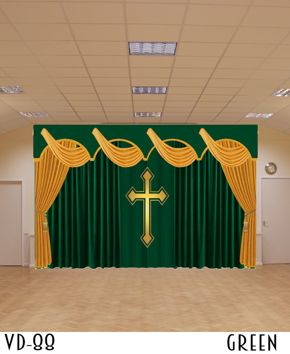 VELVET DRAPERY CHURCH STAGE THEATER ALTER SCHOOL SANCTUARY